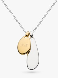 Kit Heath Personalised Sterling Silver Coast Pebble Double Plate Necklace Silver Gold