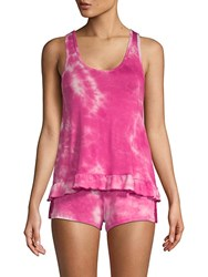 Betsey Johnson Two Piece Tie Dyed Shorty Pajama Set Pink