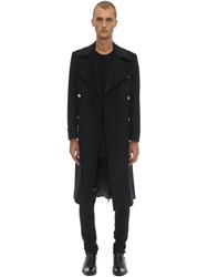 Bottega Martinese Double Breasted Wool Blend Coat Black