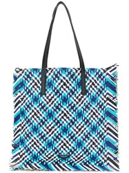 Michael Kors Collection Large Woven Tote Blue