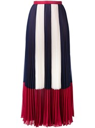 Red Valentino Stripe Panel Pleated Skirt Women Polyester 42 Blue