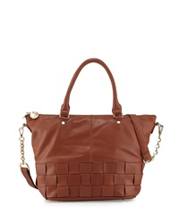 Neiman Marcus Wide Weave Faux Leather Large Satchel Bag Cognac