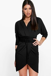 Boohoo Suedette Obi Belt Wrap Dress Black