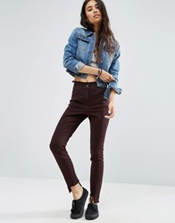 Asos Skinny Trousers With Raw Edge Waistband And Stepped Hem Dark Berry Purple