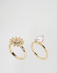 Asos Pack Of 2 Pearl And Sun Rings Gold