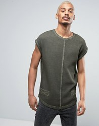 Black Kaviar Sleeveless T Shirt In Green Overdye Green