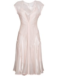 Adeam Panelled Cowl Neck Dress Pink And Purple