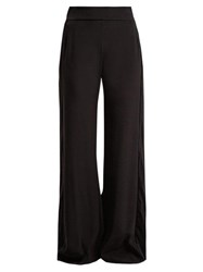Zeus Dione Alcyone Side Striped Crepe Trousers Black