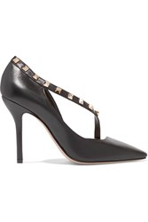 Valentino Rockstud Two Tone Leather Pumps Black