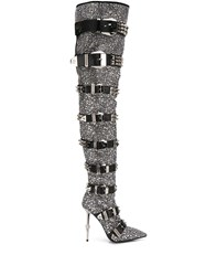 Philipp Plein Crystal Embellished Knee High Boots 60