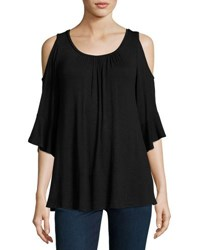 Neiman Marcus Cold Shoulder 3 4 Sleeve Top Black