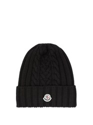 Moncler Cable Knitted Wool Beanie Hat Black