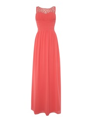 Little Mistress Beaded Top Maxi Dress Coral