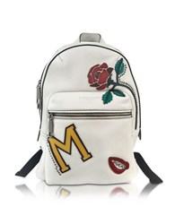 Marc Jacobs Mj Collage Biker Dove Leather Backpack W Multi Patches Light Gray
