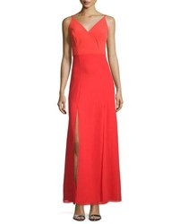 Phoebe Couture Sleeveless Double Slit A Line Gown Orange