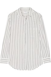 Equipment Kenton Striped Cotton Poplin Shirt White