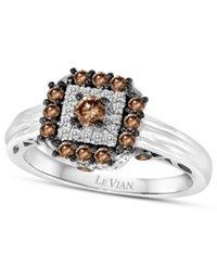 Le Vian Chocolatier Chocolate Deco Chocolate Diamond 1 2 Ct. T.W. And White Diamond Accent Square Ring In 14K White Gold No Color