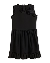 Lanvin Sleeveless Fit And Flare Dress W Flower Black