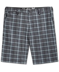 Hurley Men's Davis Flat Front Plaid Shorts Black
