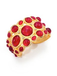 Kenneth Jay Lane Sculpted Red Cabochon Bracelet