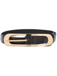 Oscar De La Renta Black Buckled Belt