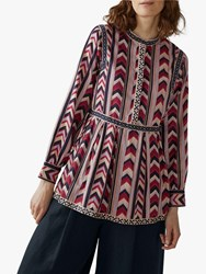 Toast Chevron Printed Tiered Top Ruby Red