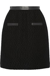 Jason Wu Leather Trimmed Wool Boucle Skirt Black