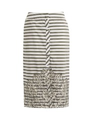 Johanna Ortiz Tanzania Striped Lace Panel Cotton Blend Skirt Green White