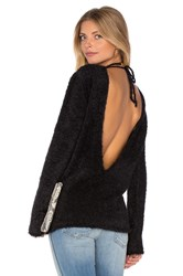 Anine Bing Open Back Fuzzy Knit Sweater Black