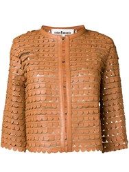Caban Romantic Scalloped Pattern Cropped Jacket Brown