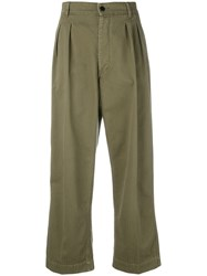 The Seafarer Pleated Front Cropped Trousers Women Cotton 27 Green