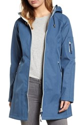 Ilse Jacobsen Regular Fit Hooded Raincoat Blue Rock