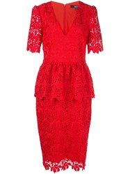 Badgley Mischka Fitted Lace Dress Red