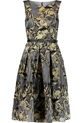 Mikael Aghal Metallic Jacquard Midi Dress Gold