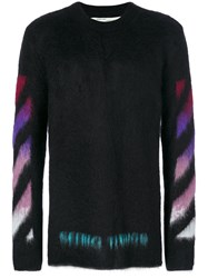 Off White Brushed Arrows Pullover Men Polyamide Mohair Wool Xs Black
