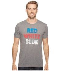 Life Is Good Red White Blue Cool Tee Slate Gray Men's T Shirt