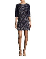 Eliza J Three Quarter Sleeve Lace Shift Dress Navy