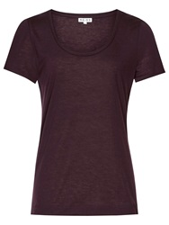 Reiss Marty Short Sleeve Jersey Top Berry