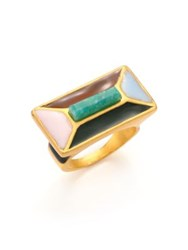 Paula Mendoza 24K Goldplated Brass And Enamel Ring Gold Multi
