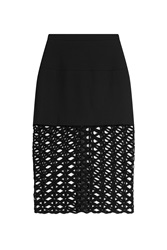 David Koma Wide Knit Mesh Hem Midi Skirt Black
