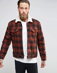 Levi's Type 3 Plaid Borg Lined Jacket Burnt Henna Red