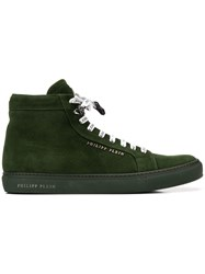 Philipp Plein Logo Hi Top Sneakers Green