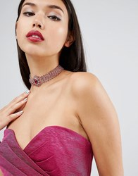 Asos Statement Crystal And Stone Choker Necklace Pink