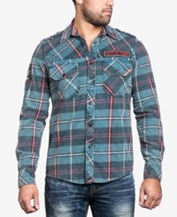 Affliction Men's Eastside Woven Shirt Legion Blue