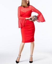 Inc International Concepts Petite Lace Bell Sleeve Sheath Dress Created For Macy's Real Red