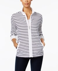 Karen Scott Striped Lounge Jacket Only At Macy's Bright White