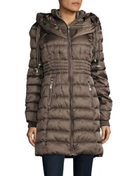 Betsey Johnson Long Puffer Coat Taupe