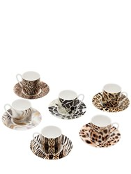 Roberto Cavalli Set Of 6 Espresso Cups And Saucers
