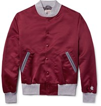 Todd Snyder Champion Leather Trimmed Satin Bomber Jacket Burgundy