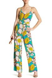 Trina Turk Zadie Sleeveless Silk Jumpsuit Blue